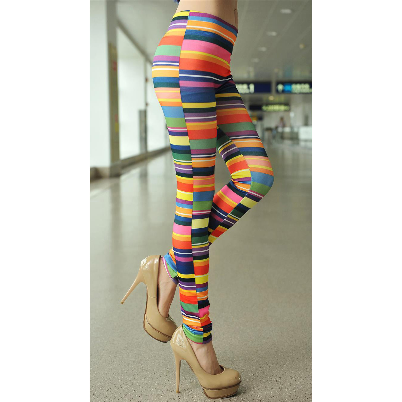 Chromatic Stripe Printed Leggings L7456