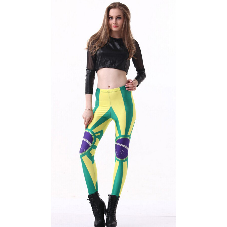 Sexy Brasil Flag Galaxy Painted Leggings L9381