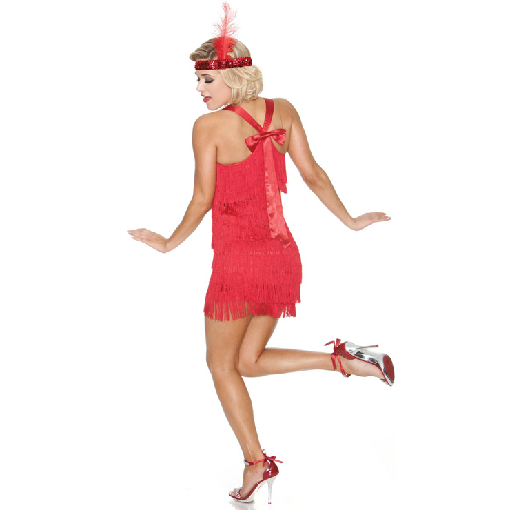 Sexy Red Lindy Lace Flapper Costume N10318