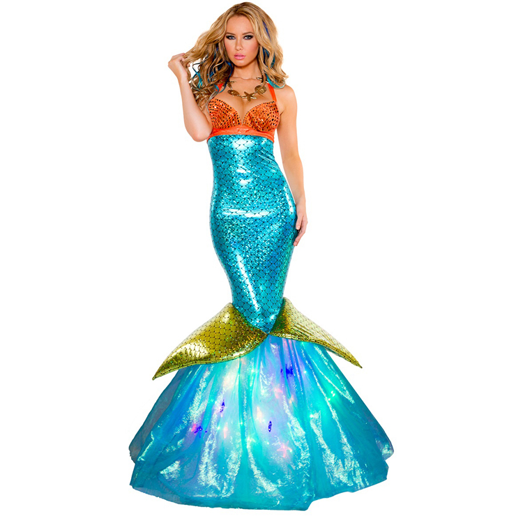 Adult costumes deluxe aquarius mermaid costume was listed for r790 2pcs hook yourself a fine sailor in this deluxe aquarius mermaid costume featuring an orange shell bra top with halter and back ties a high waisted blue solutioingenieria