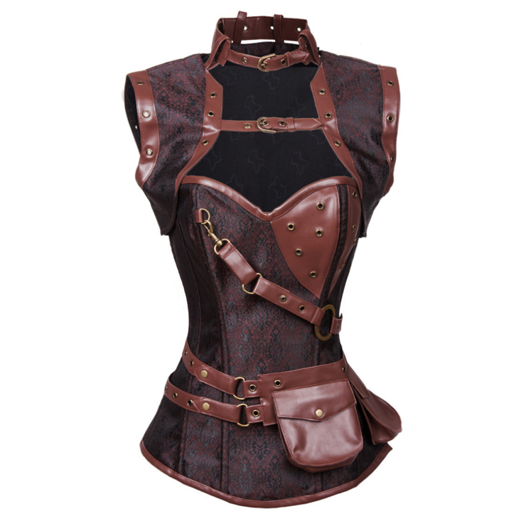 Steampunk Brown Steel Boned High Neck Jacquard Corset with Jacket N10846