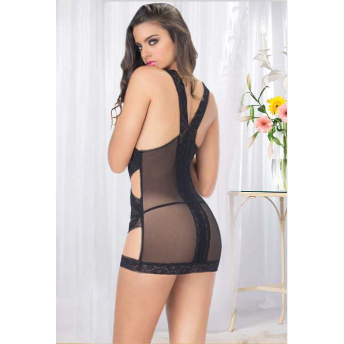Sexy Black Lace Cut Out Chemise Lingerie N11030
