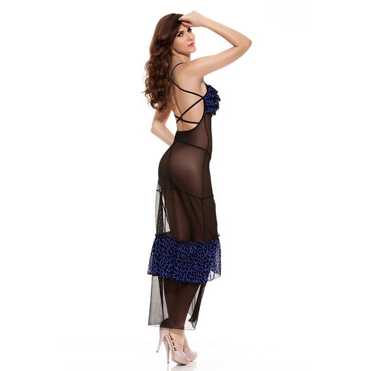 Graceful Black and Blue Ruffle Trim Long Lingerie Gown N11237