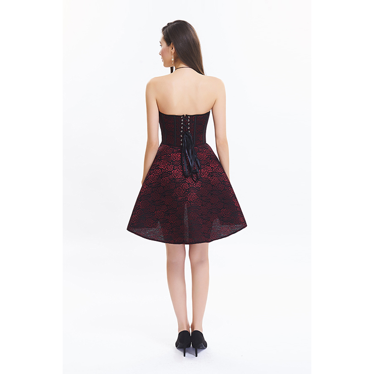 Vintage Wine Red Sweetheart-neck Strapless Lace  A-line Cocktail Dresses N12592