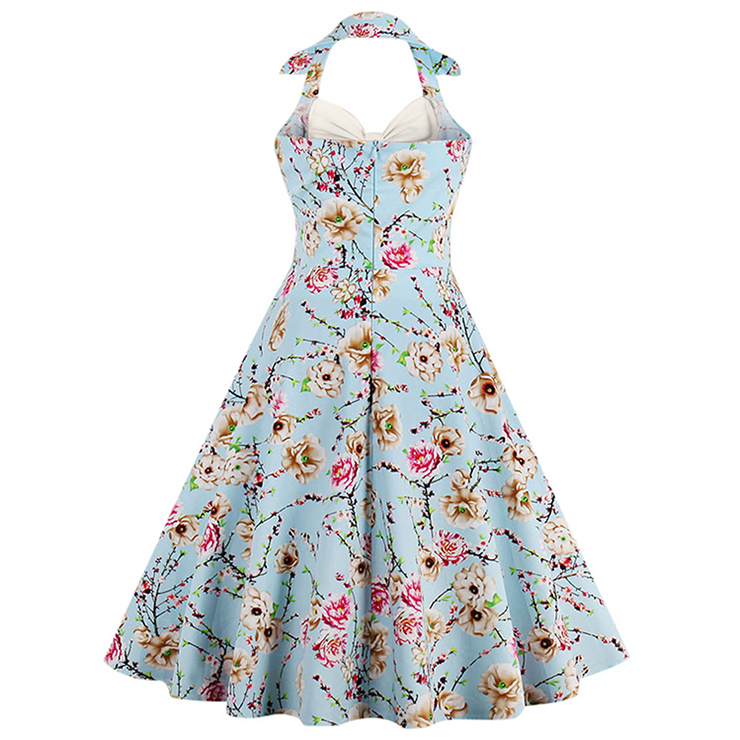 Vintage Sweetheart Floral Print Halter Cocktail Party Dress N12794