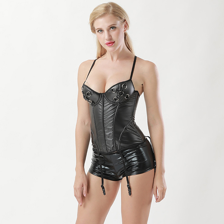 Punk Retro Black Leather Corset Bustier with Shorts N12901