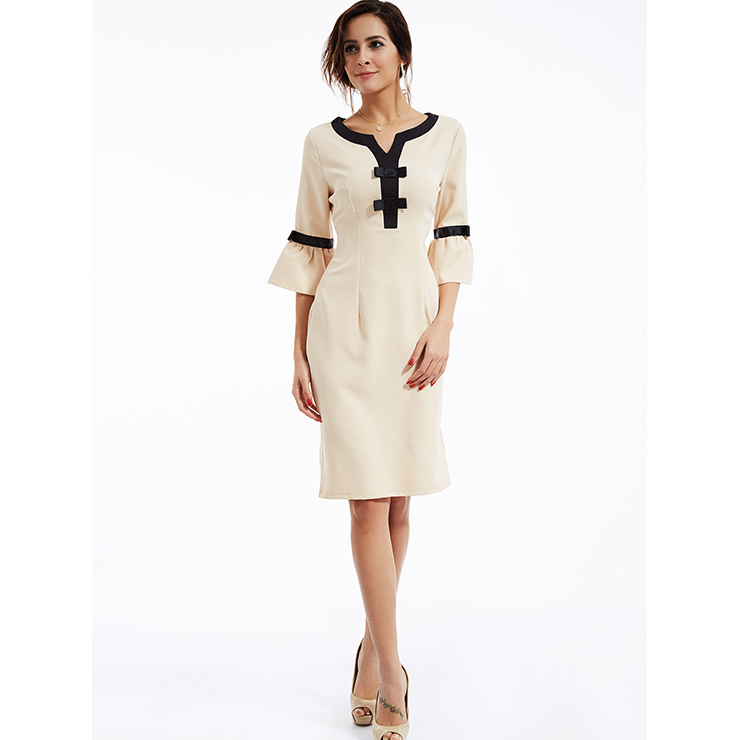 Elegant Women's Beige Bell Bottom Sleeve Bodycon Midi Dress N14293
