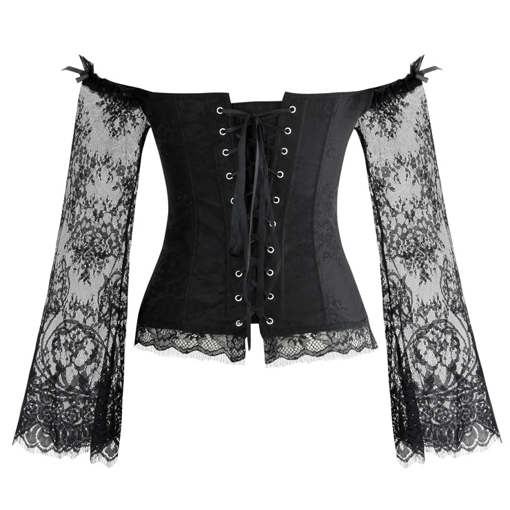 Women's Fashion Plastic Boned Black Overbust Corset with Long Floral Lace Sleeve N14474