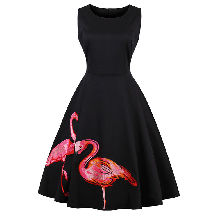 Women's 50s Vintage Flamingo Print Sleeveless Swing Casual Dress N14790