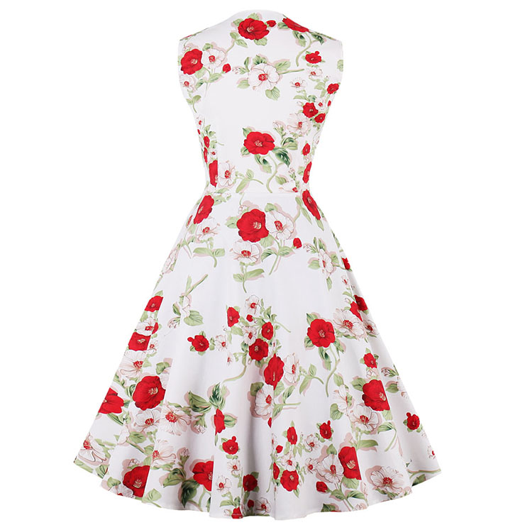 Vintage Rockabilly Floral Print Sleeveless Patchwork Casual Cocktail Day Dress N14859