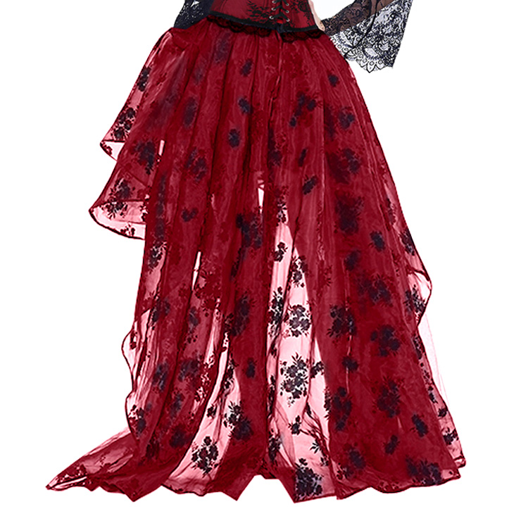 Victorian Gothic Red Elastic High-low Organza Skirt N14919