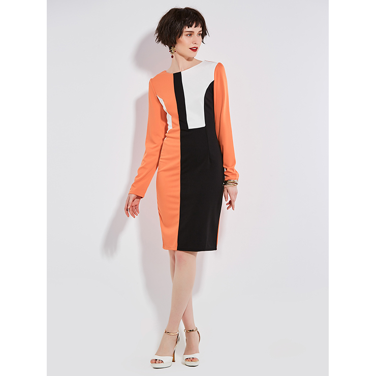 Women's Round Neck Long Sleeves Color Block Day Dresses N14961