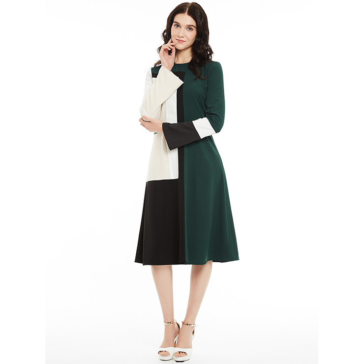 Women's Round Neck Long Sleeve Color Block A-Line Mid-Calf Day Dresses N14963