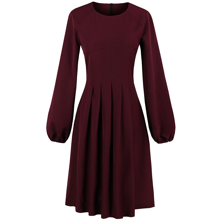 Women's Wine Red Round Neck Lantern Sleeve A-Line Day Dresses N14975