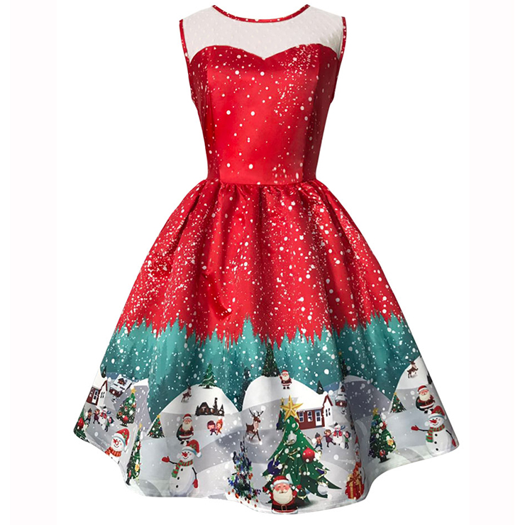 Women's Round Neck Sleeveless Printed Flared Cocktail Party Christmas Dress N14992