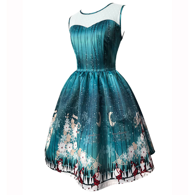 Women's Round Neck Sleeveless Printed Flared Cocktail Party Christmas Dress N14994