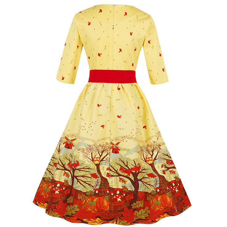Women's Vintage Round Neck Half Sleeve Autumn Scenery Print Party Christmas Dress N15030