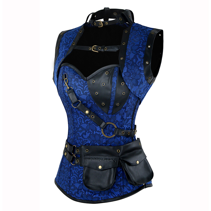 Steampunk Gothic Vintage Blue and Black Steel Boned Corset with Coat N15045