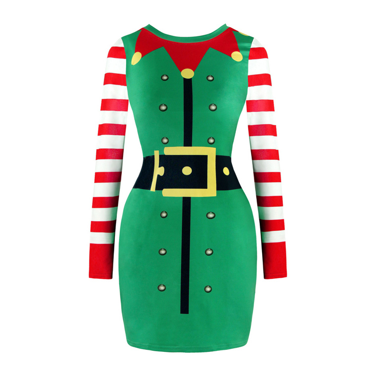Women's Christmas Round Neck Long Sleeve Christmas Costume Print Bodycon Dress N15083