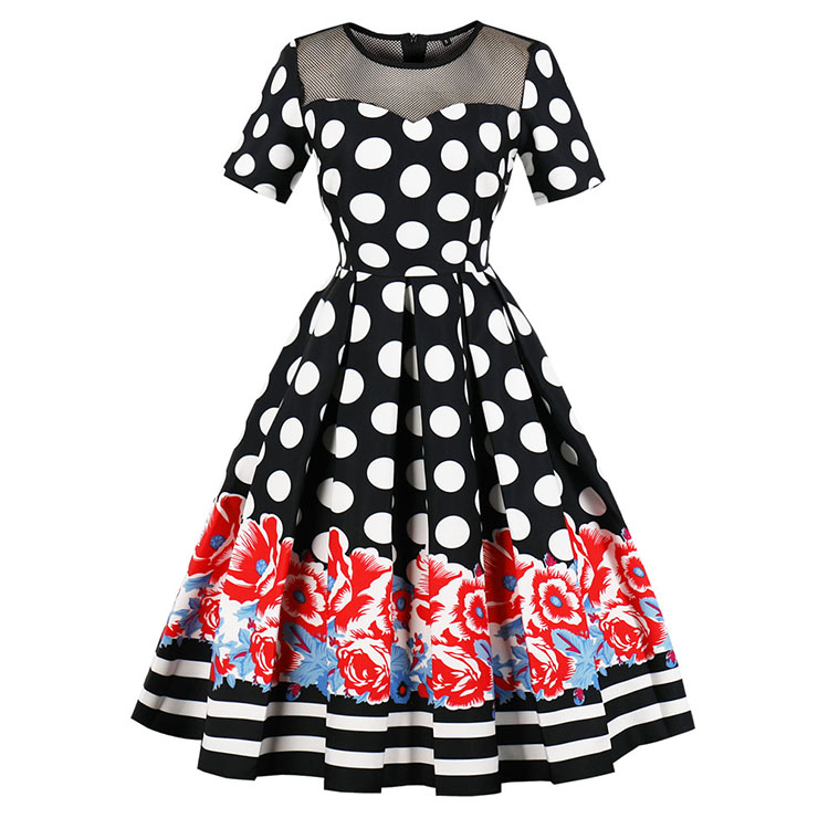 f89cc21b363f Vintage Short Sleeve Polka Dot Floral Print Pleated Midi Swing Party Dress  N16391