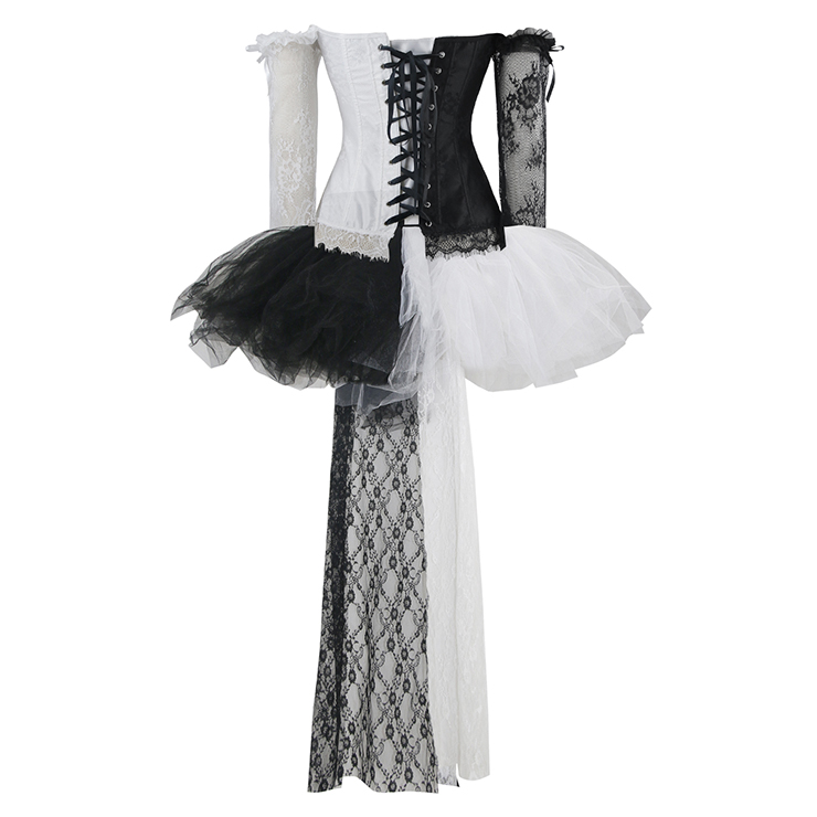 Women's Fashion Black/White Plastic Boned Lace Overbust Corset High-low Skirt Set N16494