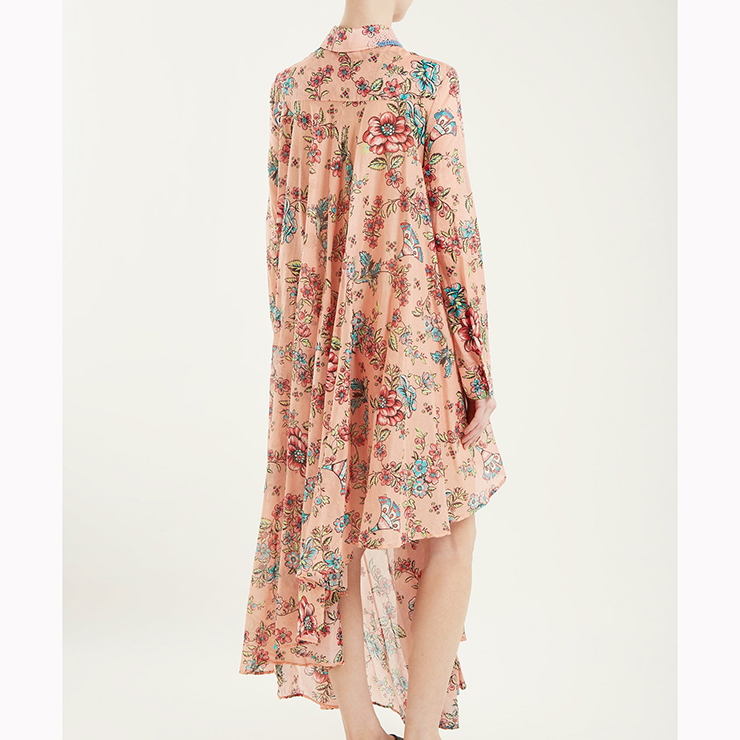 Fashion Long Sleeve Lapel Single-breasted Asymmetry Floral Print Dress N17345
