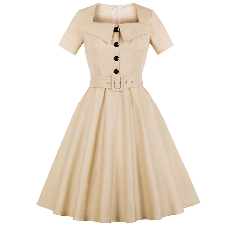 Fashion Beige Vintage Square Neck Short Sleeve Button Pinup Day Dress N17398