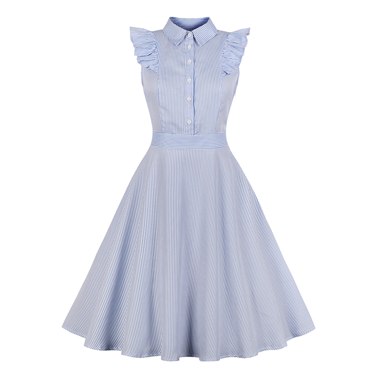 Vintage Turn-down Collar Petal Sleeve Stripe Swing Summer Daily Dress N17688
