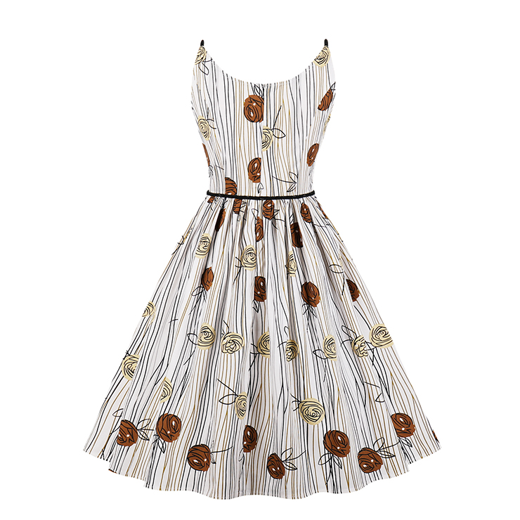1950's Casual Retro Sleeveless Round Neck Printed Summer Day Dress With Belt N17696