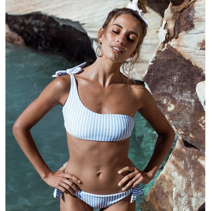 Sexy Blue One Shoulder Tie Up Stripe Beachwear Bikini Set N17949