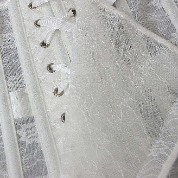acccf6e201 Vintage White Floral Lace Steel Boned Underbust Waist Cincher Corset N18019