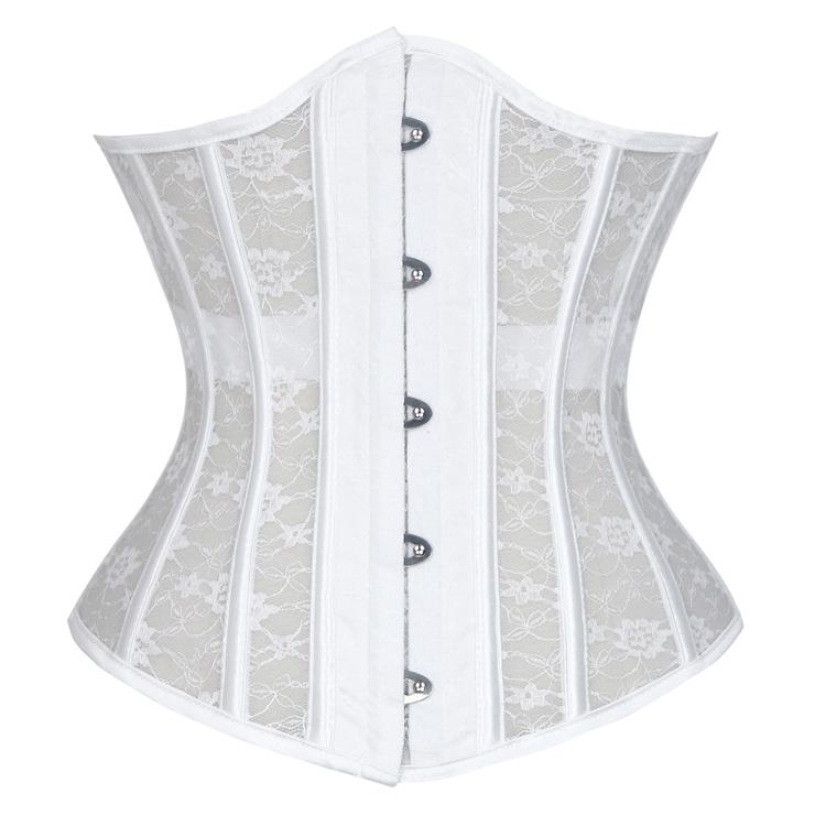 d814222f4 Vintage White Floral Lace Steel Boned Underbust Waist Cincher Corset N18019