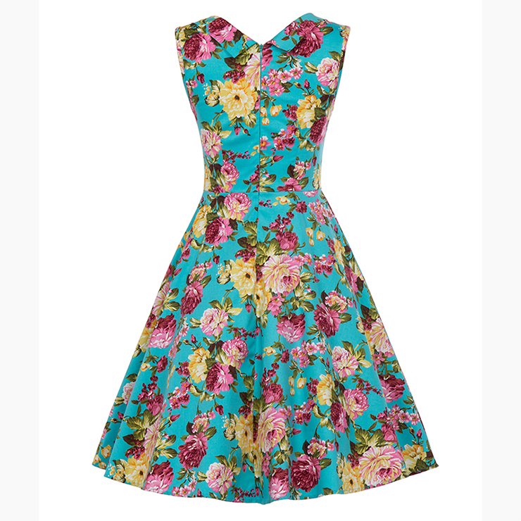 Vintage Blue Floral Printed Pleated Sweetheart Neckline Sleeveless Midi Swing Dress N18135