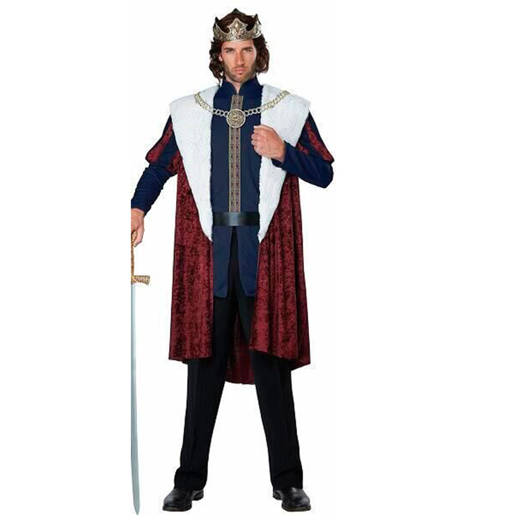 Men's Deluxe Medieval King Cosplay Halloween Adult Costume N18179