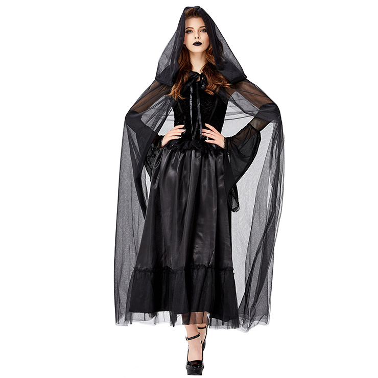 Gothic Black Ghost Bride Dress Adult Vampire Cloak and Dress