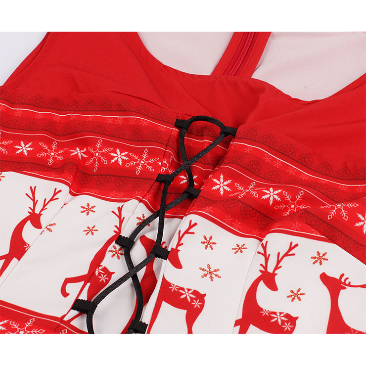 Red White Retro Round Neck Reindeer Snowflake Christmas Element Lace up Front Sleeveless High Waist Midi A-dress N18275