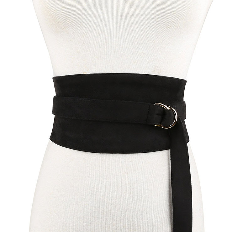 Fashion Black Faux Suede Leather Wide Waist Cincher with Adjustable Belt and Alloy Buckle Waist Belt N18444