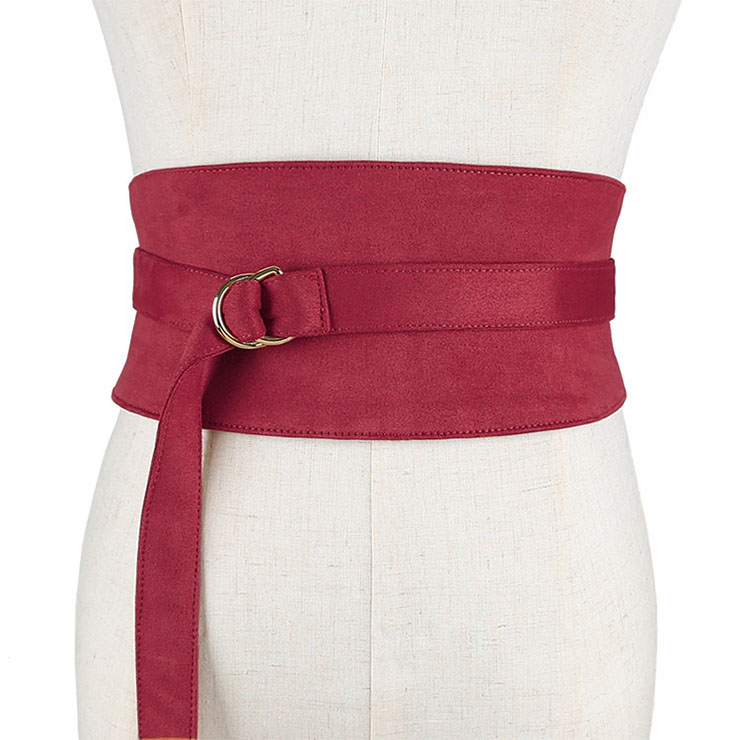Fashion Red Faux Suede Leather Wide Waist Cincher with Adjustable Belt and Alloy Buckle Waist Belt N18445
