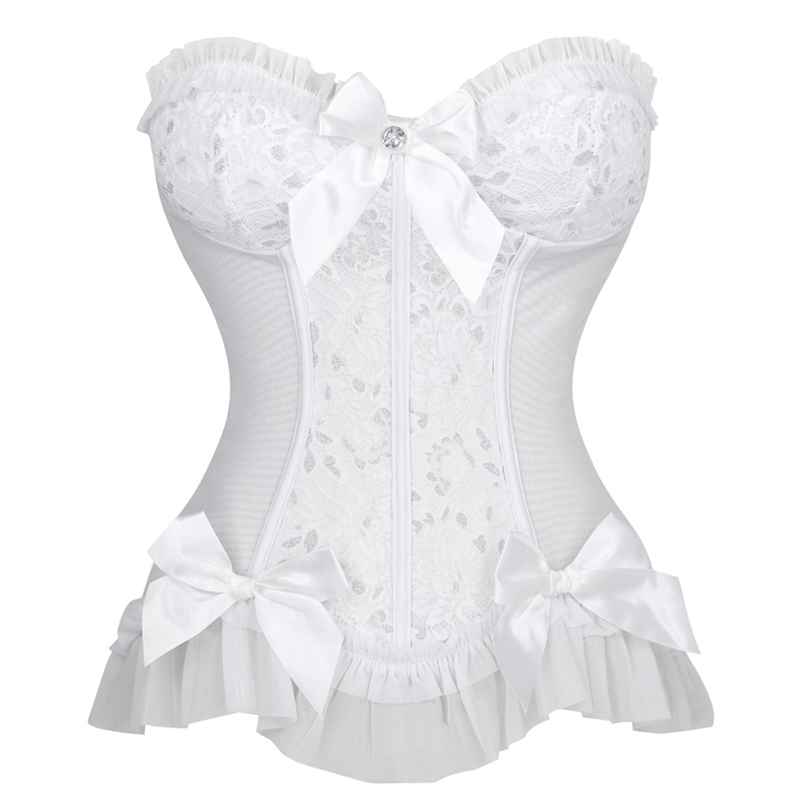 Sexy Strapless Plastic Bone White Jacquard Bride Bowknot and Ruffle Overbust Corset N18653