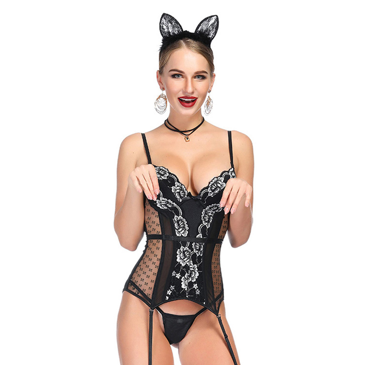 Sexy Black Sheer Mesh Floral Lace Spaghetti Straps Plastic Bone Lingerie Bustier Corset N18711