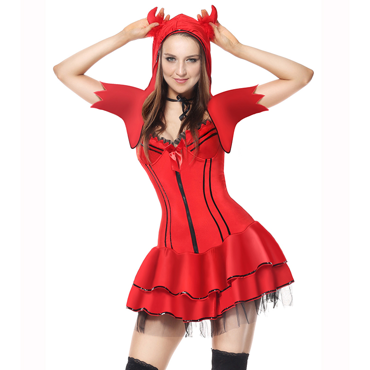 Deluxe Sexy Red Devil Adult Halloween Gallus Mini Dress Costume N5909