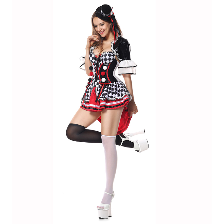Deluxe Sexy Circus Grid Mini Dress Harlequin Adullt Cosplay Costume N5942
