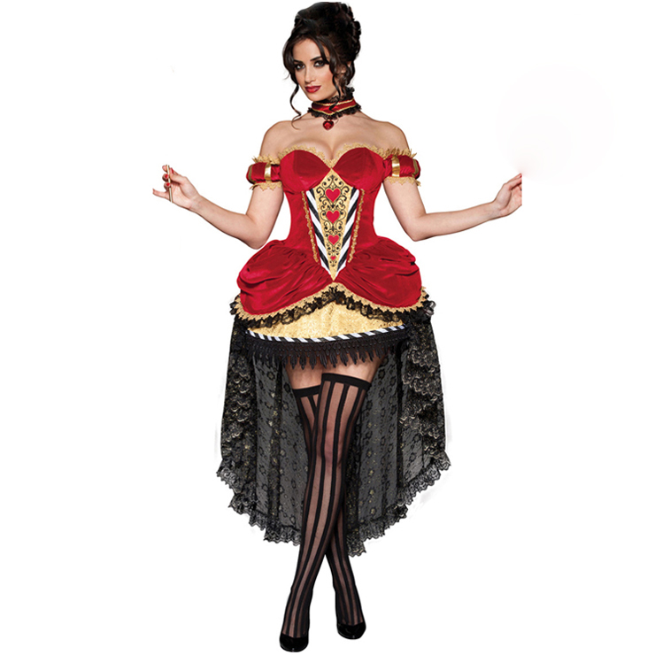 Women's Sexy Fairy Tale Deluxe Queen Of Hearts Overbust Hi-Lo Adult Role Play Costum N6200