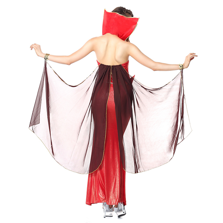 Deluxe Devilish Red Halter Sleevsless Backless Split-Front  Adult Halloween Fancy Ball Costume N6239