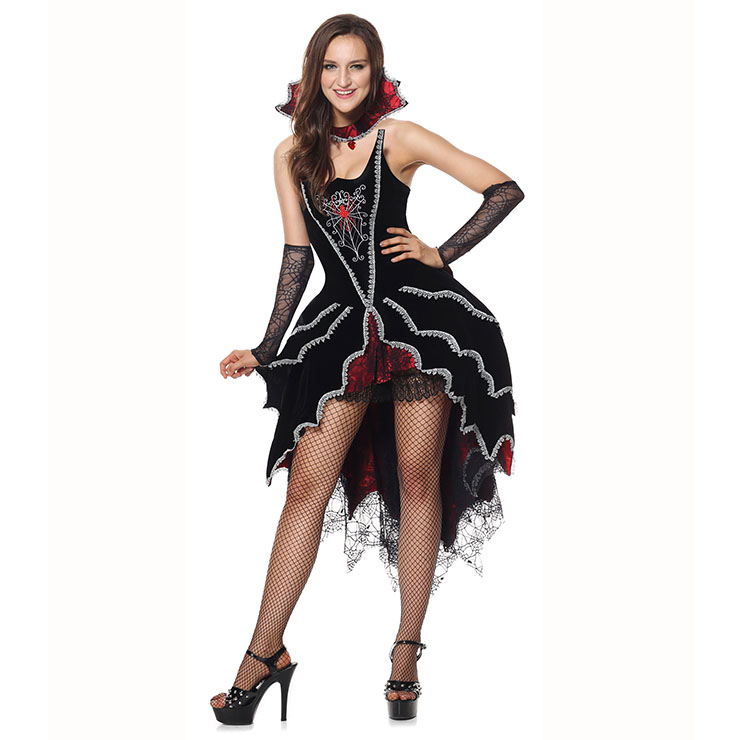 Deluxe Dark Black-red Cobweb Vest Mistress Fancy Ball Theatrical Halloween Adult Costume N6311