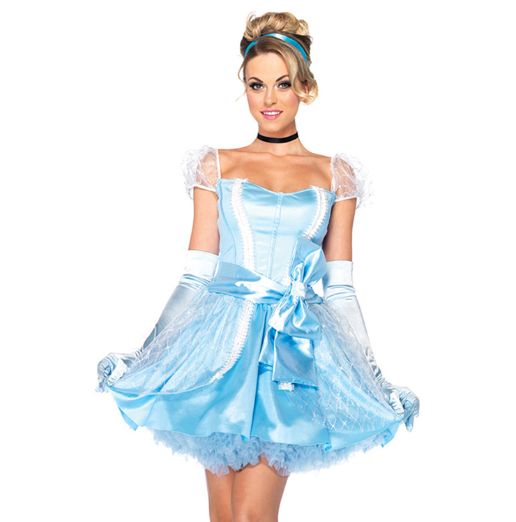 Elegant Adult Celeste Princess Cinderella Translucent  Role Play Cosplay Costume N6560