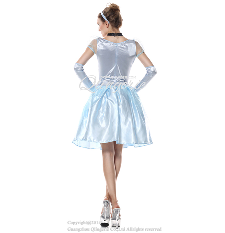 Deluxe Short Cinderella Celeste Puff Sleeves Midi Dress Adult Role Play Costume N6561