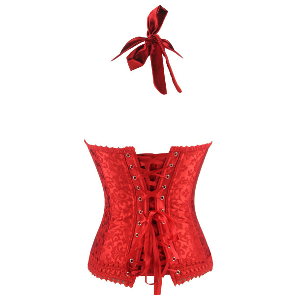 Fashion Elegant Red Halter Satin Jacquard Weave Lace Edge Corset N9728