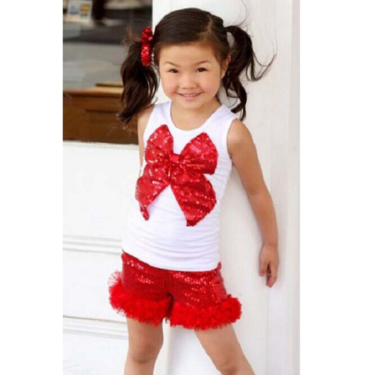 Twirl Red Sequins Tops and Plume Edging Shorts N9736