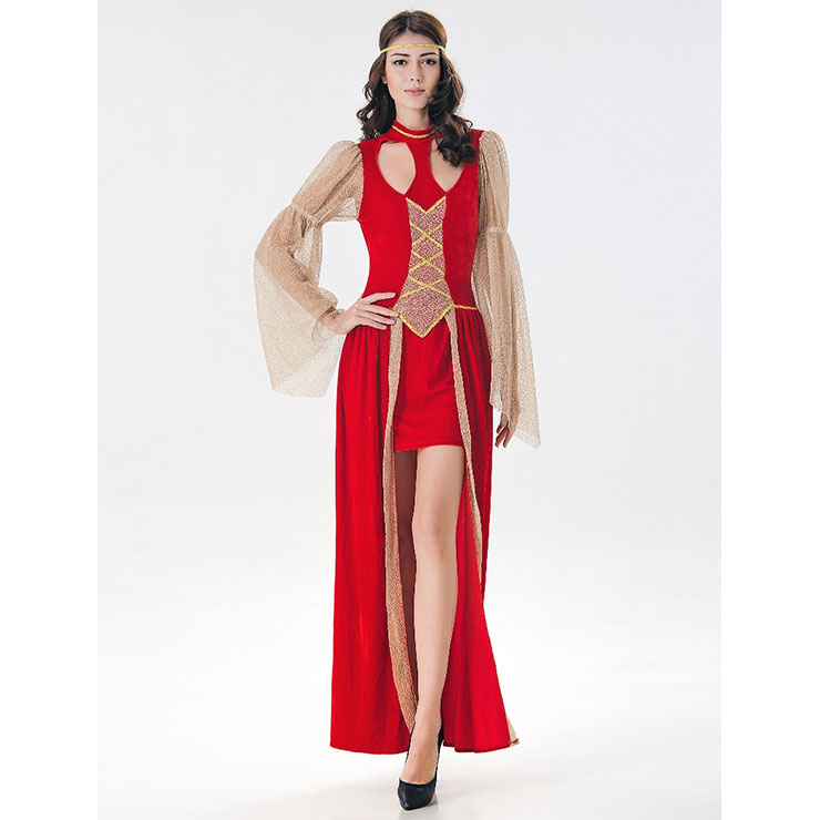 Red Classy Renaissance Beauty Halloween Cosplay Costumes N17119